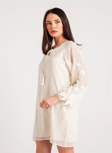 Fracomina Boyundan Bağlamalı Şifon Elbise Beyaz